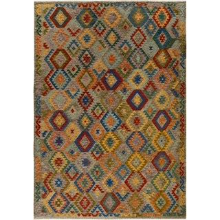 "Kilim Arya Buffy Gray/Blue Wool Rug - 8' 1"" x 11' 3"""