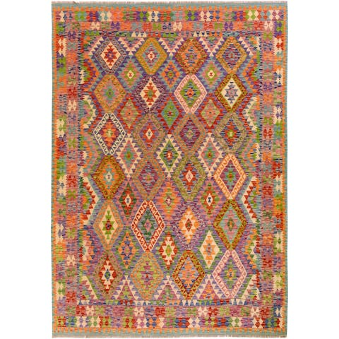 "Kilim Arya Debora Gray/Orange Wool Rug - 8' 4"" x 9'10"""