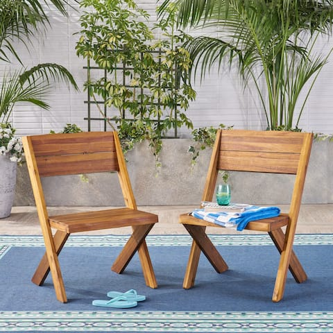 Eaglewood Outdoor Live Edge Acacia Wood Chair (Set of 2) by Christopher Knight Home