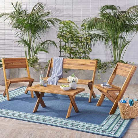 Eaglewood Outdoor Live Edge Acacia Wood 4-Seater Chat Set by Christopher Knight Home