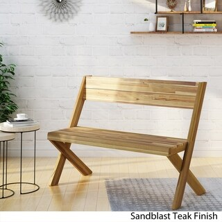 Esmeralda Farmhouse Acacia Wood Bench by Christopher Knight Home