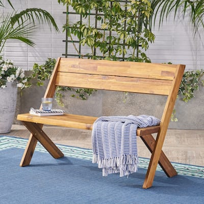 Eaglewood Outdoor Live Edge Acacia Wood Bench by Christopher Knight Home