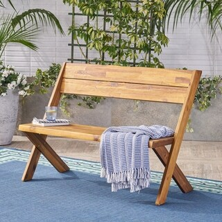 Eaglewood Outdoor Acacia Wood Bench by Christopher Knight Home