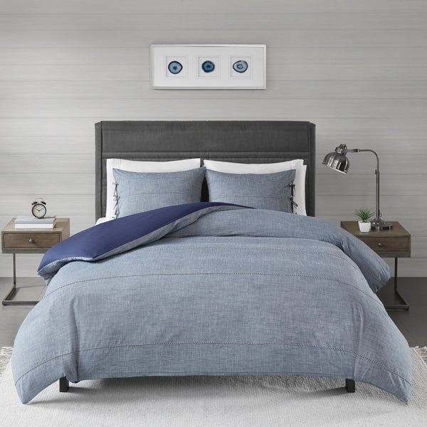 Madison Park Norris Denim Blue Cotton Yarn Dye Duvet Cover Set. Opens flyout.