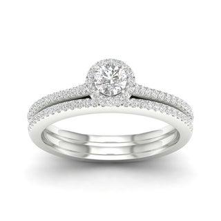 De Couer 10k Gold 3/8ct TDW Diamond Halo Bridal Ring
