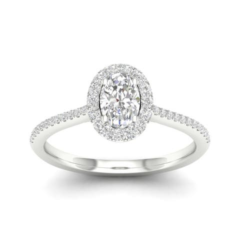 De Couer 10k Gold 1/3ct TDW Diamond Halo Engagement Ring