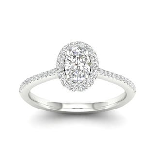 De Couer 10k Gold 1/3ct TDW Diamond Halo Engagement Ring (More options available)
