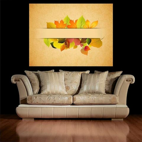 "Fall Leaves Full Color Wall Decal Sticker AN-671 FRST Size 52""x65"""