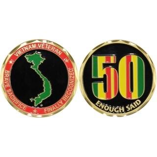 Vietnam Veteran Enough Said 50th Anniversary Challenge Coin