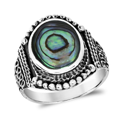 Handmade Rainbow Stone Vintage Oval Balinese Style Sterling Silver Ring (Thailand)