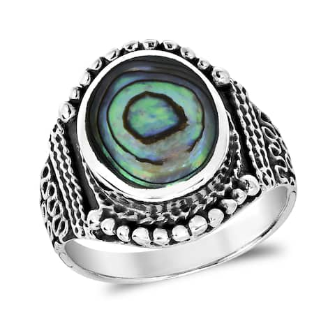 Rainbow Stone Vintage Oval Balinese Style Sterling Silver Ring (Thailand)