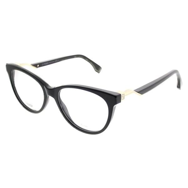 12d570ab98fe Fendi Cat-Eye FF 0201 Fendi Cube 807 Women Black Frame Eyeglasses