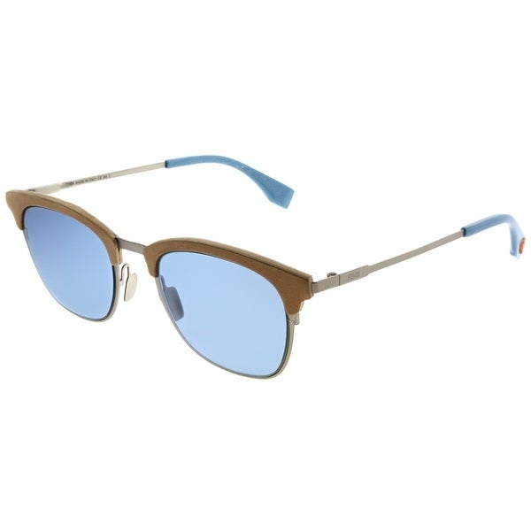 35f63a5d76 Fendi Square FF 0228 SCB Men Silver Blue Frame Blue Avio Lens Sunglasses
