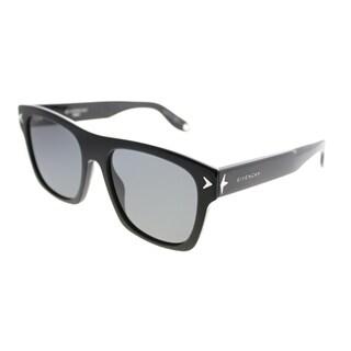 Givenchy Rectangle GV 7011 807 TD Unisex Black Frame Grey Polarized Lens Sunglasses