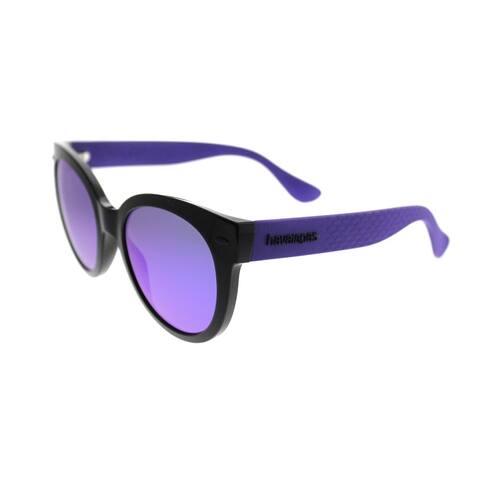 Havaianas Round Noronha/M QT2 TE Unisex Black Violet Frame Violet Mirror Lens Sunglasses