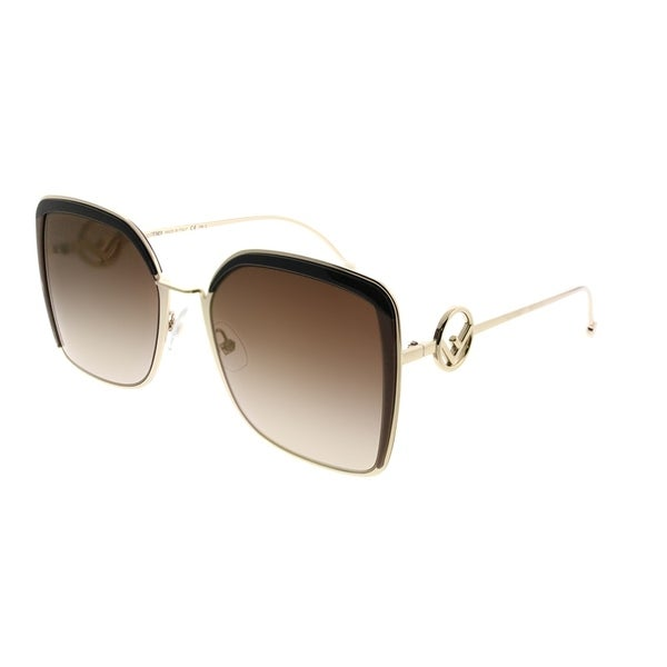 Fendi Square Ff 0294 F Is Fendi 09 Q Women Gold Brown Frame Brown Gradient Lens Sunglasses by Fendi