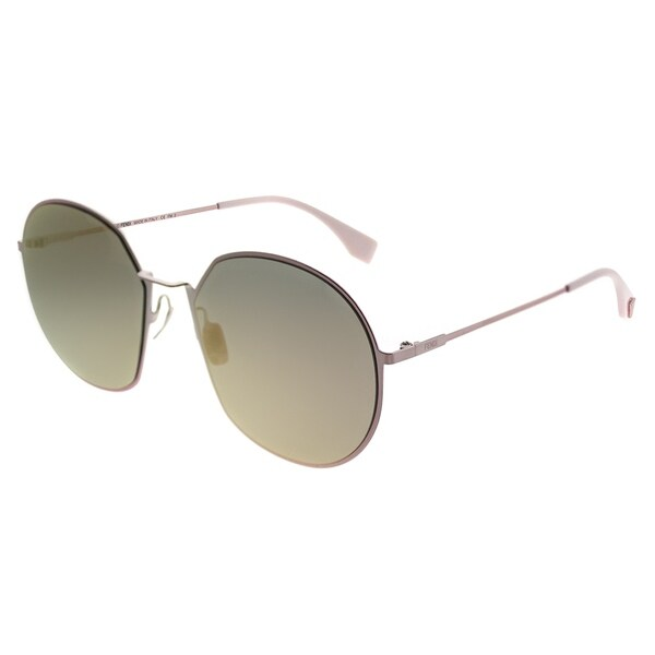 Fendi Round FF 0313 F Eyeline 35J 0J Women Pink Frame Rose Gold Mirror Lens  Sunglasses 378c56a539