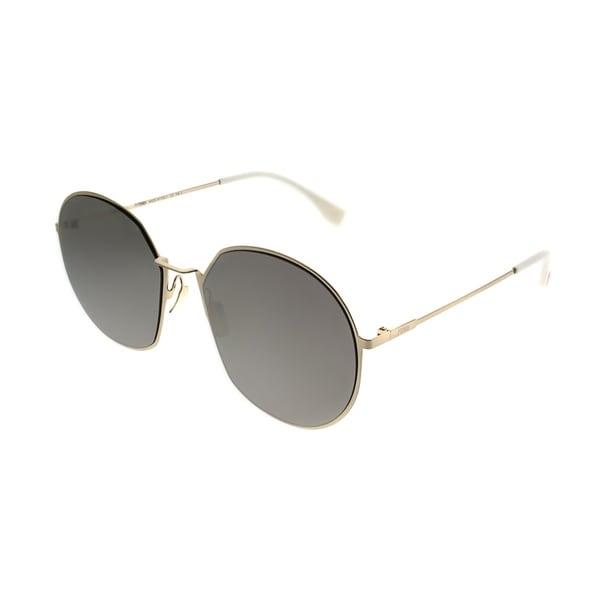 9b548bd6b293 Fendi Round FF 0313 F Eyeline J5G UE Women Gold Frame Ivory Mirror Lens  Sunglasses