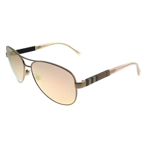 Burberry Aviator BE 3080 12357J Unisex Matte Gold Frame Rose Gold Mirror Lens Sunglasses
