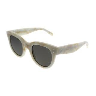 Celine Cat-Eye CL 41053 Audrey 21J NR Women White Frame Grey Lens Sunglasses