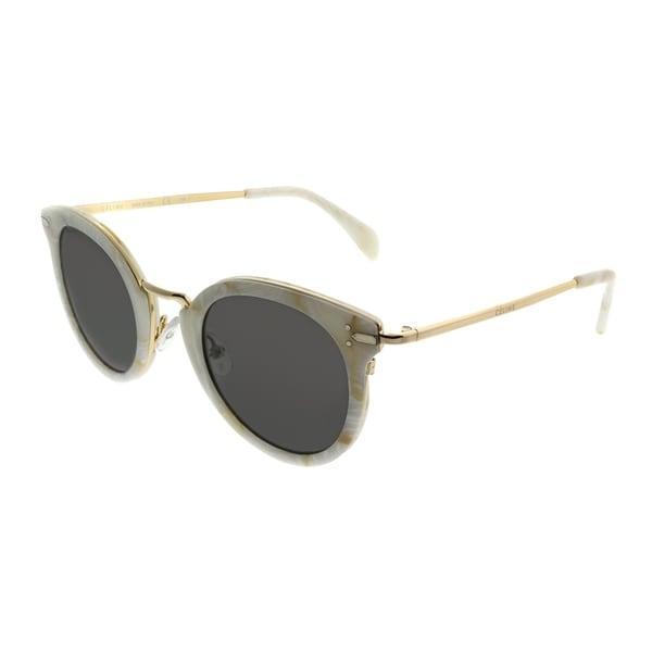 c7d67a949148 Celine Round CL 41373 Lea 23F NR Women White Gold Frame Grey Lens Sunglasses