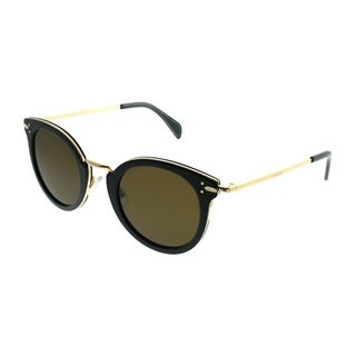 Celine Round CL 41373 Lea HDE EC Women Blue Gold Frame Brown Lens Sunglasses