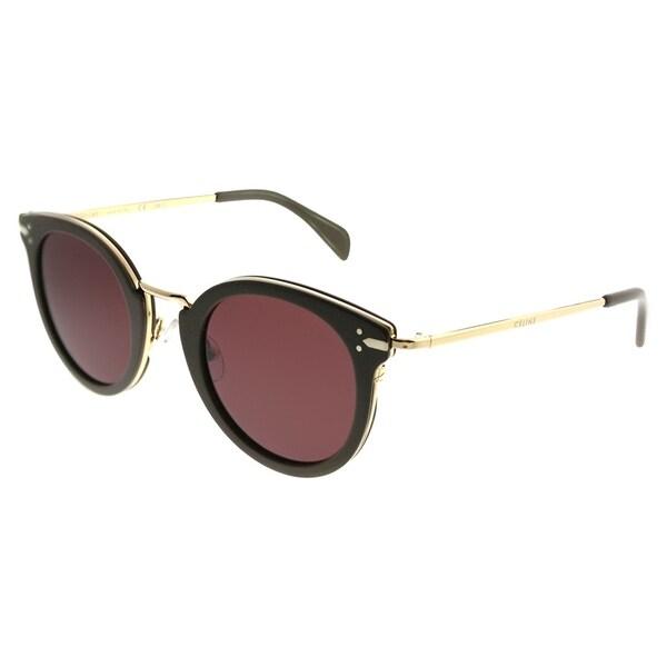 2f97fe481640 Celine Round CL 41373 Lea HDF EF Women Khaki Gold Frame Brown Lens  Sunglasses