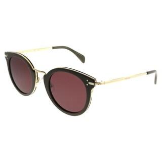 Celine Round CL 41373 Lea HDF EF Women Khaki Gold Frame Brown Lens Sunglasses