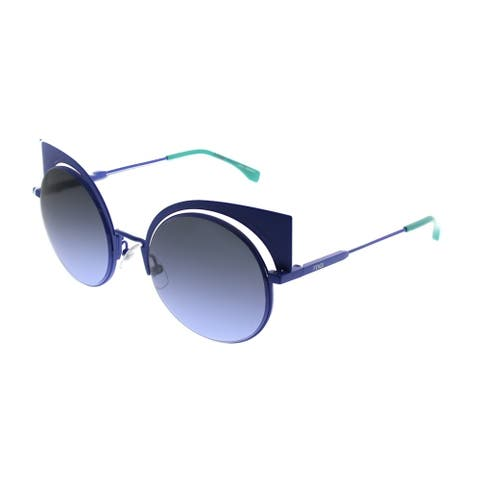 Fendi Cat-Eye FF 0177 Eyeshine 27F Women Light Blue Frame Blue Mirror Lens Sunglasses