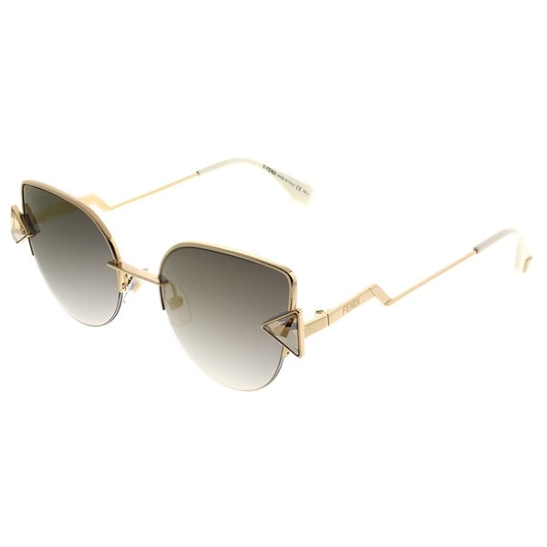 963ec6b001c Fendi Cat-Eye FF 0242 Rainbow 000 FQ Women Rose Gold Frame Gold Mirror Lens  Sunglasses