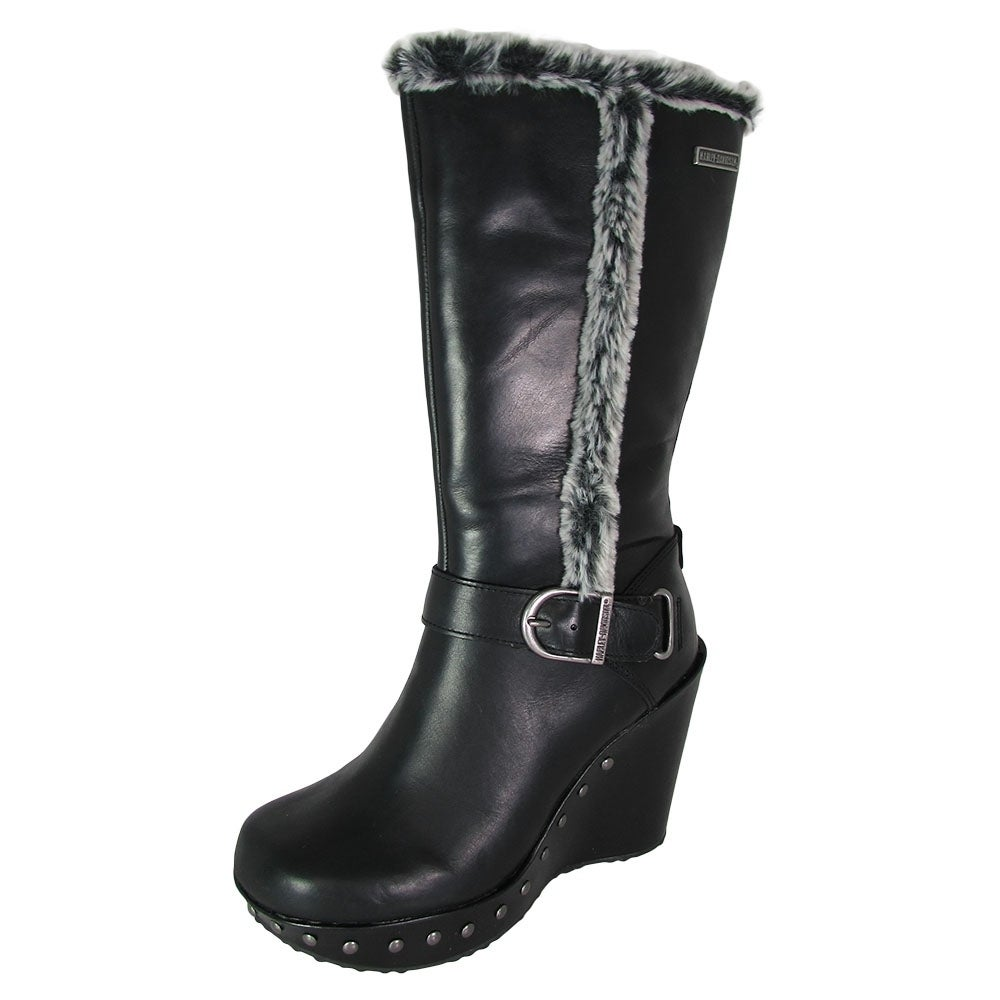 f29a86c2256 Harley Davidson Womens Artesia Fur Lined Wedge Heel Boots