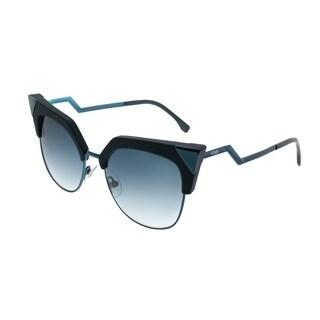 Fendi Cat-Eye FF 0149 Iridia ZI9 Women Transparent Teal Tea Frame Dark Blue Gradinet Lens Sunglasses