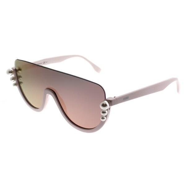 67c5e4116491 Fendi Shield FF 0296 Ribbons And Pearls 35J-0J Women Pink Frame Rose Gold  Mirror