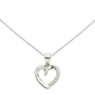 Versil 14 Karat White Gold Swirled Heart Pendant with 18 Inch Chain