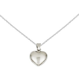 Versil 14 Karat White Gold Puffed Heart Pendant with 18 Inch Chain
