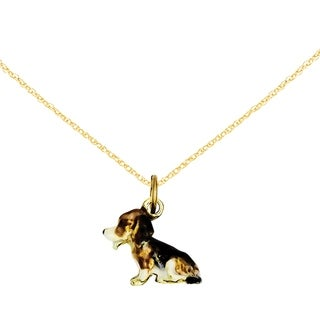Versil 14 Karat Enameled Small Beagle Charm with 18 Inch Chain