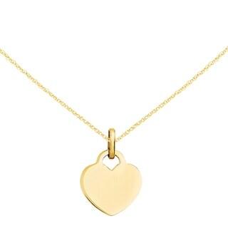Versil 14 Karat Polished Heart Charm with 18 Inch Chain