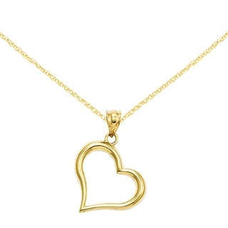 Versil 14 Karat Polished Open Heart Pendant With 18 Inch Chain