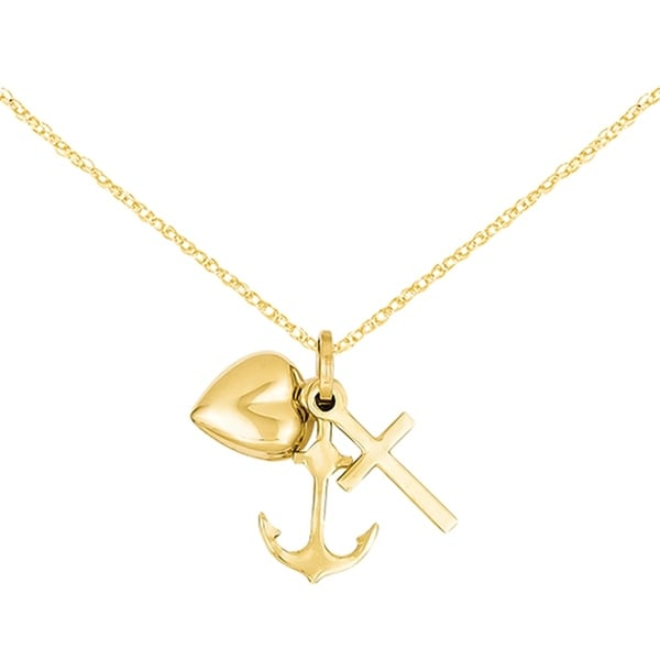 Charms Adjustable Heart Anchor Cross Neck Heart Anchor Cross