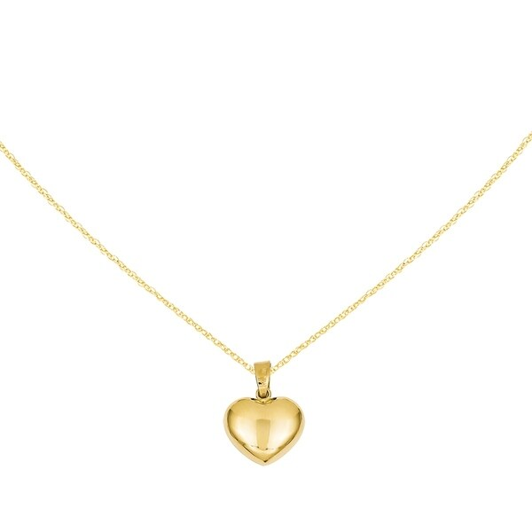 Puffed Heart Pendant in Polished 14k Yellow Gold 16x12mm 16x12mm