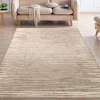 "Ottomanson Casa Collection Striped Design Beige Area Rug - 7'10"" x 9'10"""