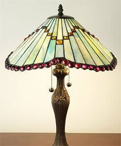 Tiffany-style Bronze/ Glass Mission Table Lamp