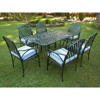 International Caravan Diamond Lattice Iron Outdoor Dining Set (Set of 7)
