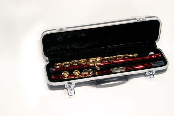 Thumbnail 2, Red and Gold School Band Flute with Case. Changes active main hero.