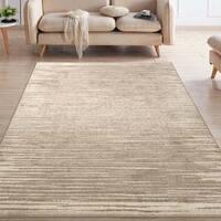 """Ottomanson Casa Collection Striped Design Beige Area Rug (5' x 7') - 5'3"""" x 7'6"""""""