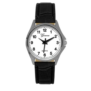 Geneva Black Faux Leather Strap Watch (2 options available)
