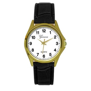 Geneva Black Faux Leather Strap Watch (4 options available)