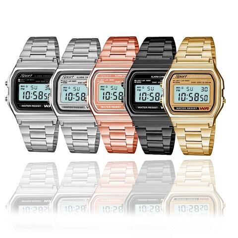 Sport Metal Band Watch LCD Display