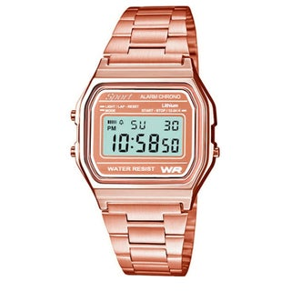 Sport Metal Band Watch LCD Display (Option: rose gold-rose gold-gold)