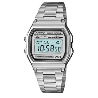 Sport Metal Band Watch LCD Display (Option: silver-silver-grey)